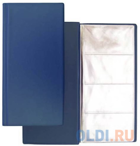Визитница на 96 визиток, разм.12х24,5 см, темно-синяя, PVC 03-1160-2/ТС визитница на 120 визиток на кольцах разм 13х19 см темно синяя pvc