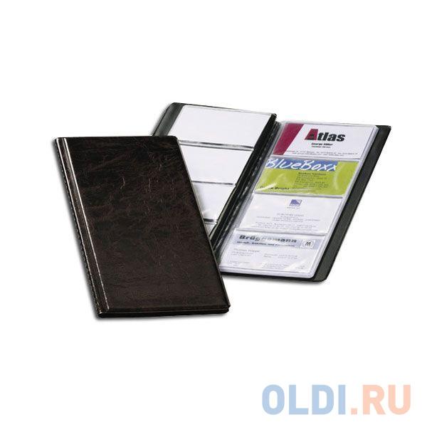 Визитница VISIFIX на 96 визиток, пластиковая обложка, размер 25,3х11,5 см, коричневая визитница на 120 визиток на кольцах разм 13х19 см темно синяя pvc