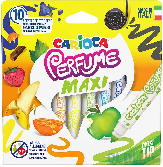 Набор фломастеров, (10 цв. в уп), ароматиз., смываемые, круглый корп., 1 дизайн, CARIOCA, PERFUME XPLOSION, картон. короб. с е/п carioca набор фломастеров carioca perfume 12 цв в картонном коробе с европодвесом