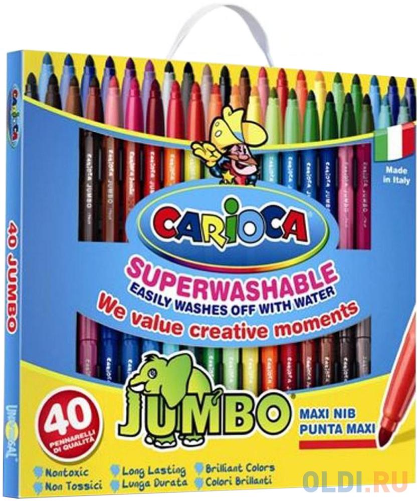 Набор фломастеров CARIOCA JUMBO, 40 цв., в картонном чемоданчике набор фломастеров birello двусторонних 12 цв в картонном конверте