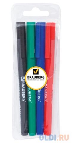 Набор маркеров перманентных BRAUBERG 150295 1 мм 4 шт синий черный красный зеленый фото