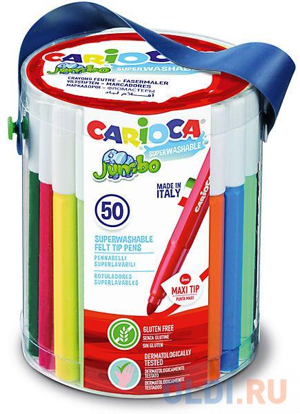 Набор фломастеров CARIOCA JUMBO, 50 шт., в пластиковом ведерке набор фломастеров carioca jumbo 40 цв в картонном чемоданчике