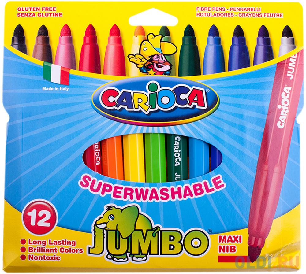 Набор фломастеров CARIOCA JUMBO, 12 цв., в картонном конверте с европодвесом набор фломастеров carioca acquarell 12 цв в картонной коробке с европодвесом