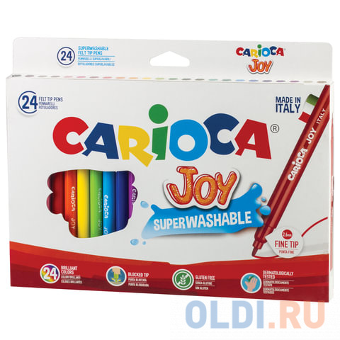 Набор фломастеров CARIOCA Joy 40615 2.6 мм 24 шт 150108 carioca набор фломастеров carioca joy 24 цв в картонном конверте с европодвесом