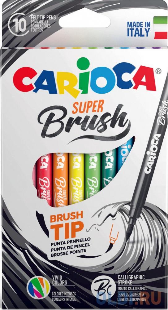 Набор фломастеров CARIOCA SUPER BRUSH, 10 цветов, в картонной коробке с европодвесом carioca набор фломастеров carioca perfume 12 цв в картонном коробе с европодвесом