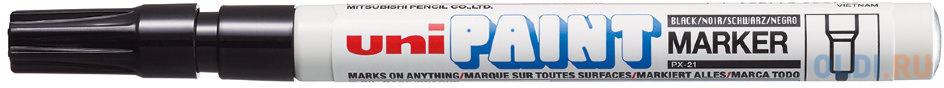 Маркер-краска лаковый (paint marker) UNI (Япония) Paint черный 08-12 мм нитро-основа алюминиевый корпус PX-21(L) BLACK.