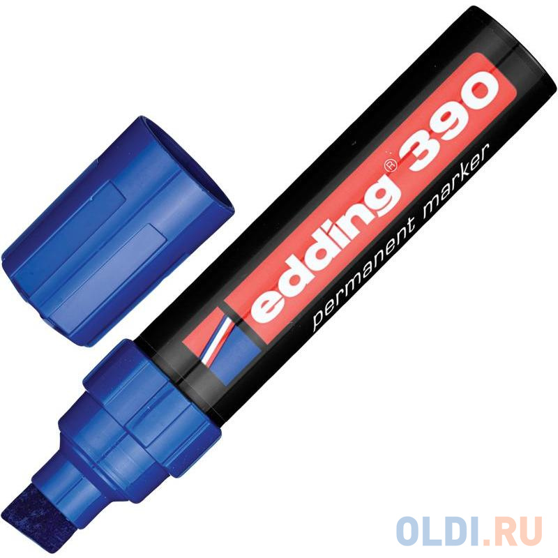Маркер перманентный (нестираемый) EDDING 390, скошенный наконечник, 4-12 мм, синий, E-390/3 фото