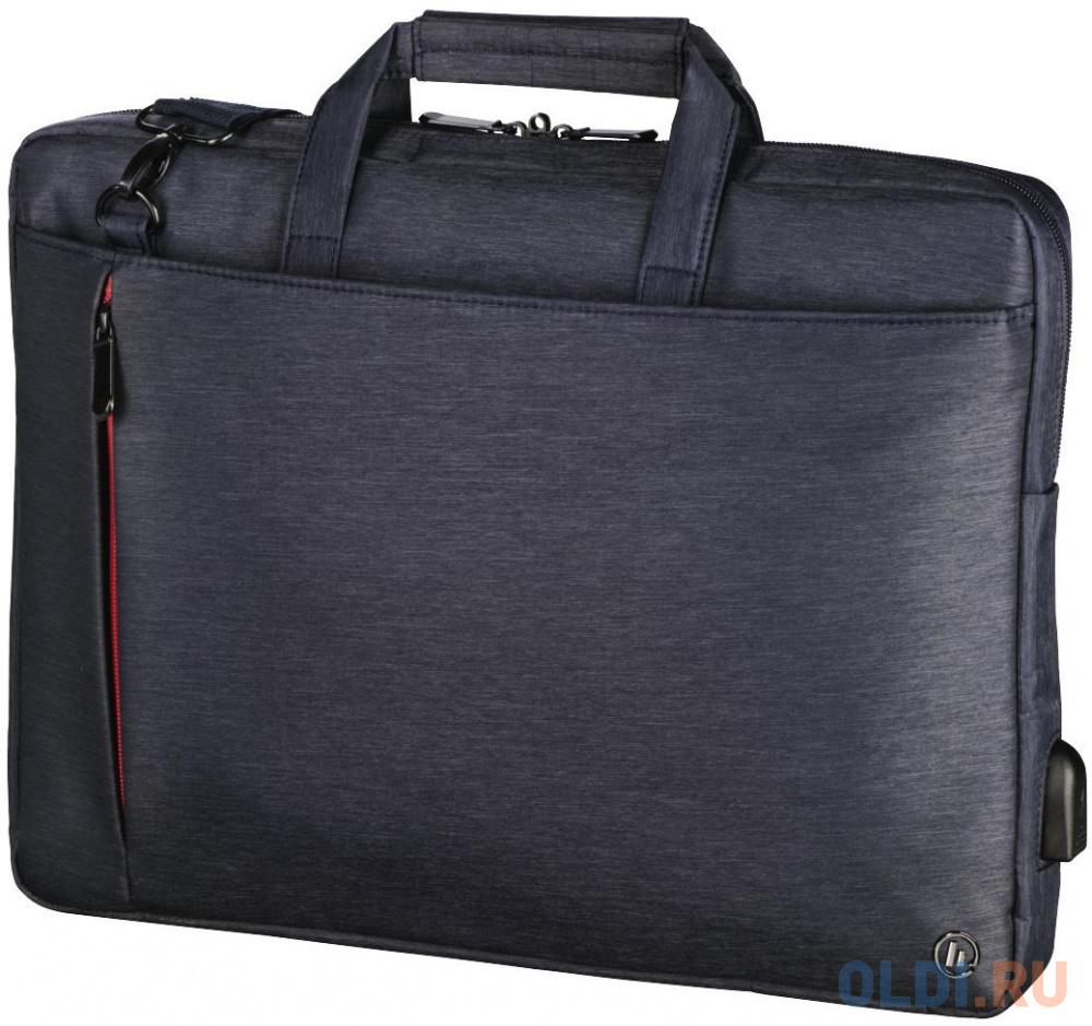 """Сумка для ноутбука 17.3"""" HAMA Manchester полиэстер синий 00101874"""