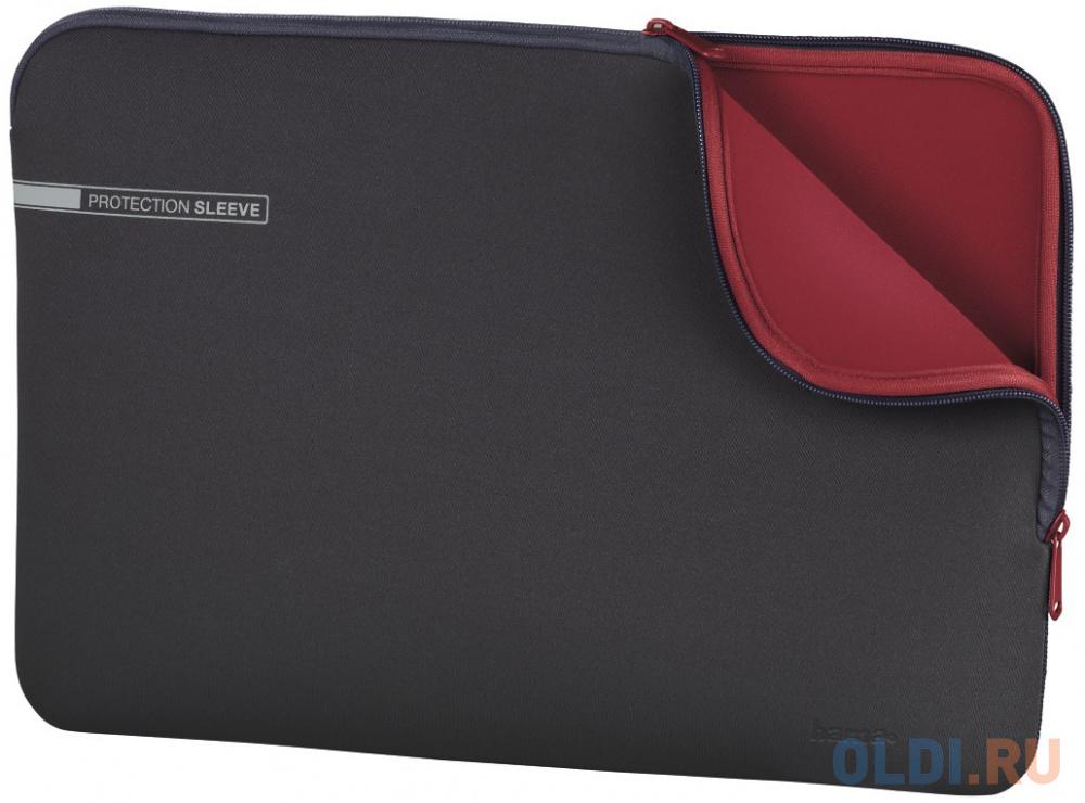 """Чехол для ноутбука 15.6"""" HAMA 00101550 неопрен серый красный"""