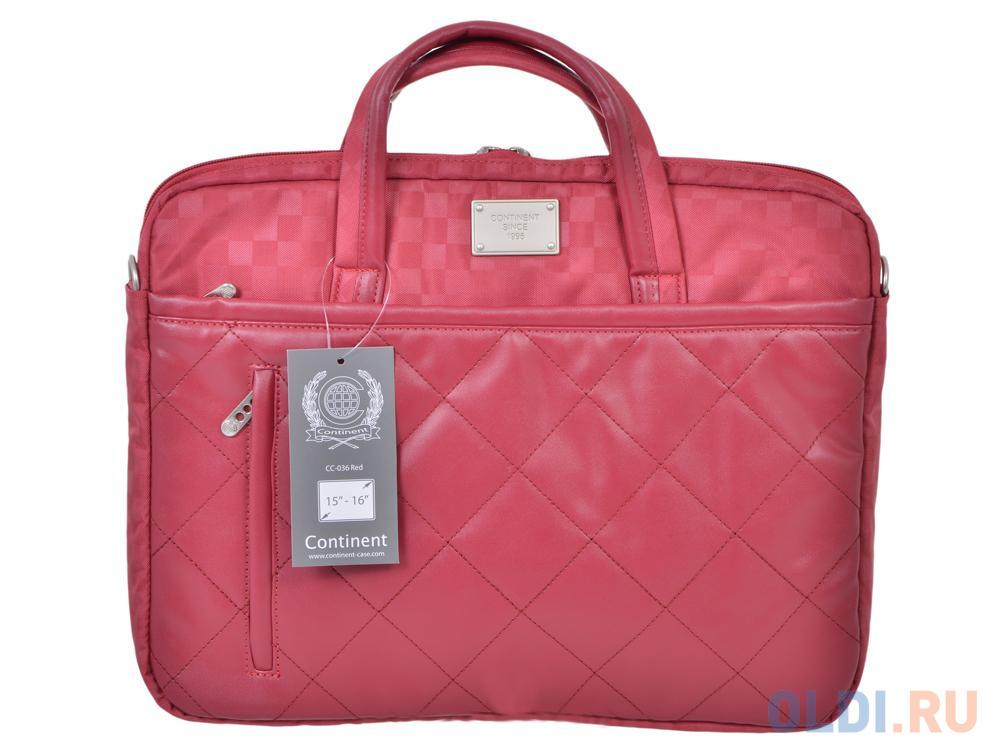 сумка для ноутбука continent cc 036 grey до 15 6 16 серый полиэстр эко кожа 40 x 30 x 4 5 см Сумка для ноутбука 15.6 Continent CC-036 Red полиэстр красный