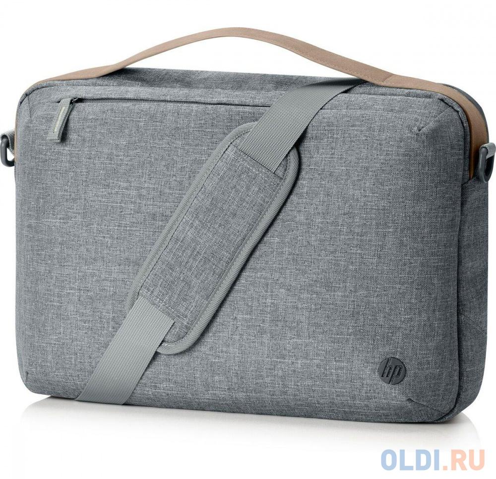 "Сумка для ноутбука 15"" HP RENEW Topload серый/коричневый пластик (1A213AA)"