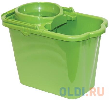 Ведро 9,5 л, с отжимом (сетчатый), пластиковое, цвет зеленый, (моп 602584, -585), IDEA, М 2421 ведро для поломоя apex с отжимом цвет желтый 15 л