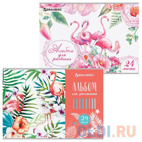 Альбом для рисования BRAUBERG Фламинго A4 24 листа альбом для рисования brauberg города мира a4 32 листа 103684