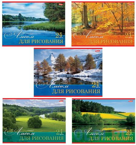 """Альбом для рисования, А4, 24 л., обложка картон, HATBER """"Русские просторы"""", 24А4В, A17395"""