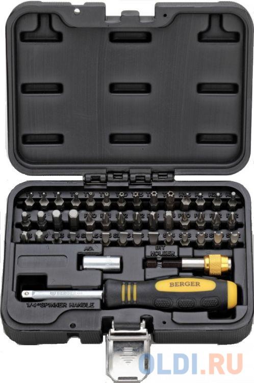 Набор бит BERGER BG-45SB ручка+биты 45 предметов в кейсе набор бит berger bg 32sb