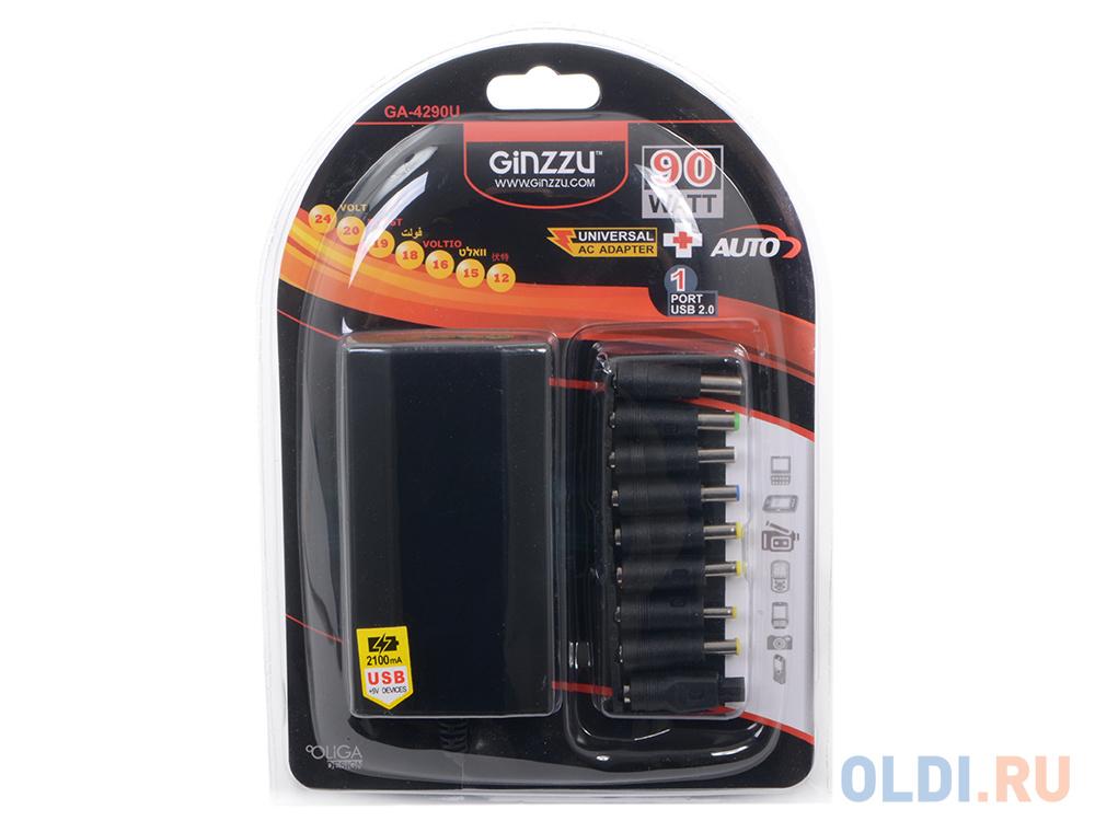 Универсальный адаптер питания для ноутбуков GiNZZU® GA-4290U (avto, 90W, 1xUSB, 12V-24V, 9 DC-IN)
