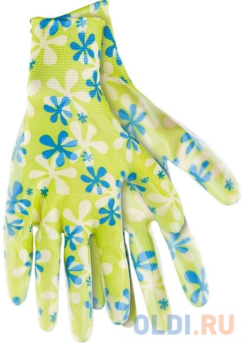 Перчатки садовые из полиэстера с нитрильным обливом, зеленые, L </div> <div class=