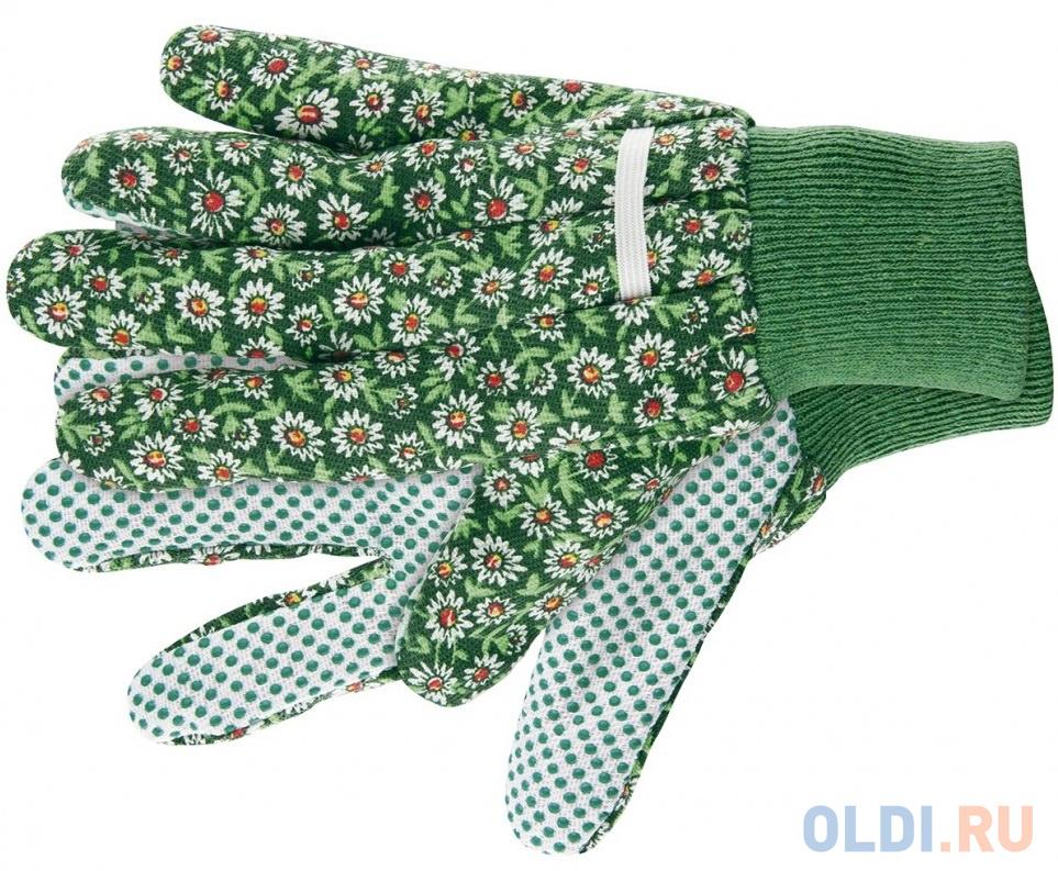 Перчатки садовые х/б ткань с ПВХ точкой, манжет, M// Palisad