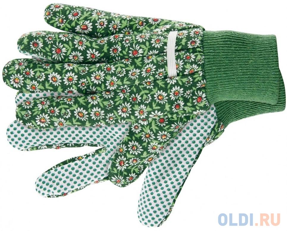 Перчатки садовые х/б ткань с ПВХ точкой, манжет, S// Palisad