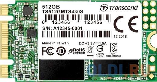 Твердотельный накопитель SSD M.2 512 Gb Transcend TS512GMTS430S Read 550Mb/s Write 480Mb/s 3D NAND TLC твердотельный накопитель ssd 2 5 250 gb sandisk ultra sdssdh3 250g g25 read 550mb s write 525mb s ultra 3d