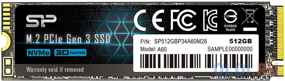 Твердотельный накопитель SSD M.2 512 Gb Silicon Power P34A60 Read 2200Mb/s Write 1600Mb/s 3D NAND TLC SP512GBP34A60M28