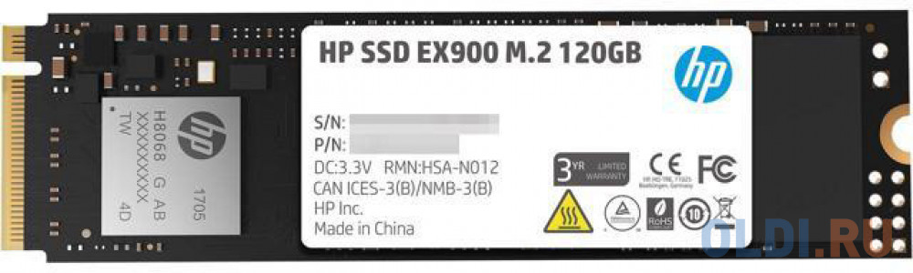 Фото - Твердотельный накопитель SSD M.2 120 Gb HP EX900 Read 1900Mb/s Write 650Mb/s TLC 2YY42AA твердотельный накопитель ssd 2 5 120 gb sandisk plus sdssda 120g g27 read 530mb s write 310mb s tlc