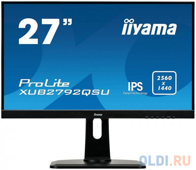 "Картинка для Монитор 27"" iiYama XUB2792QSU-B1 черный IPS 2560x1440 350 cd/m^2 5 ms DVI HDMI DisplayPort Аудио USB"