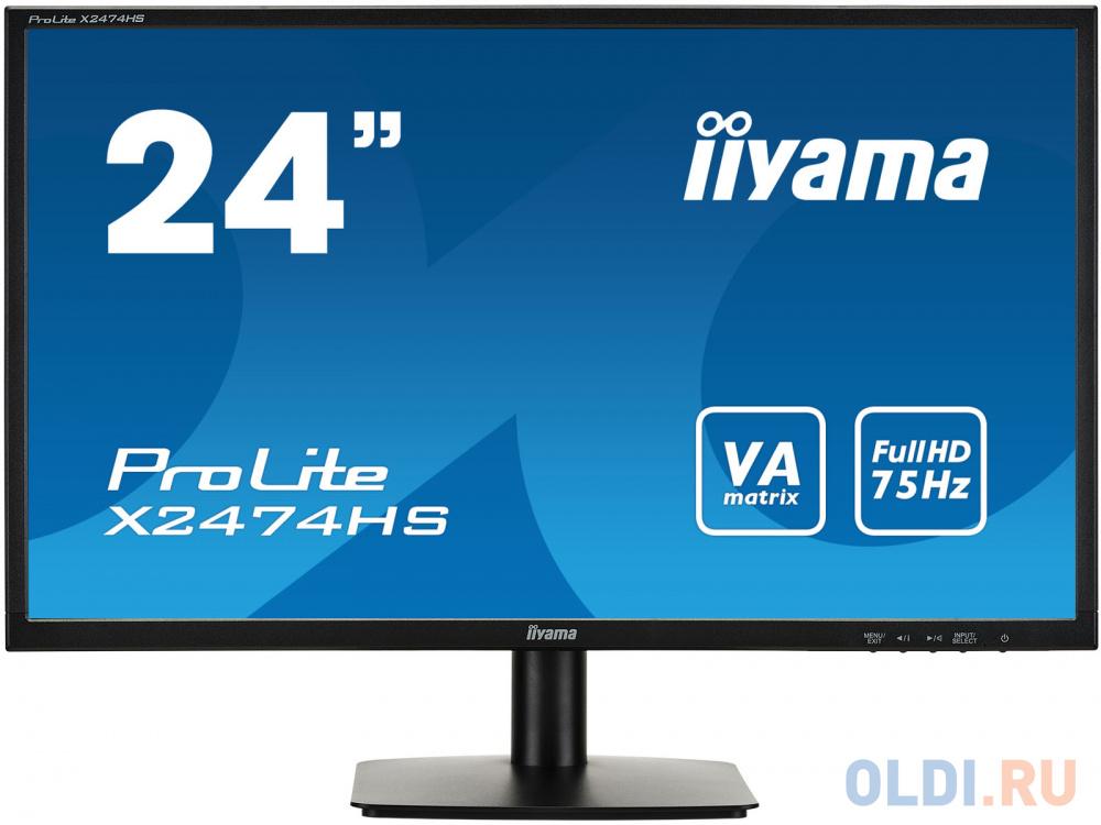 """Картинка для Монитор 24"""" iiYama X2474HS-B2 черный VA 1920x1080 250 cd/m^2 4 ms HDMI DisplayPort VGA Аудио X2474HS-B2"""