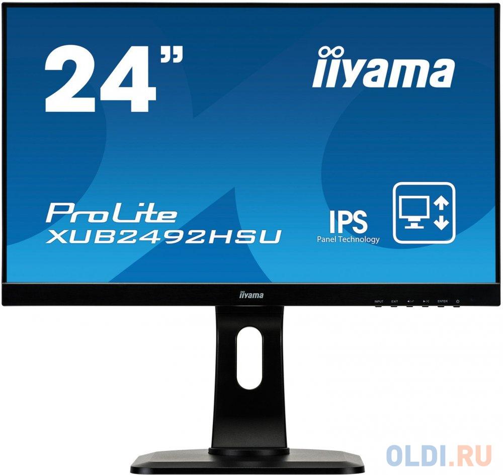Монитор 23.8 iiYama XUB2492HSU-B1 черный IPS 1920x1080 250 cd/m^2 5 ms HDMI DisplayPort VGA Аудио USB XUB2492HSU-B1 монитор 23 8 dell p2418ht черный ips 1920x1080 250 cd m^2 6 ms hdmi vga usb аудио 2418 5128