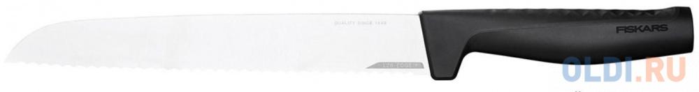 Нож Fiskars Hard Edge (1054945) стальной для хлеба лезв.218мм прямая заточка черный нож fiskars essential 1023774 стальной для хлеба лезв 230мм серрейт заточка черный