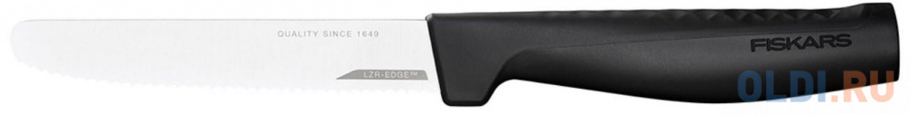 Нож кухонный Fiskars Hard Edge (1054947) стальной для томатов лезв.114мм серрейт. заточка черный нож fiskars essential 1023774 стальной для хлеба лезв 230мм серрейт заточка черный