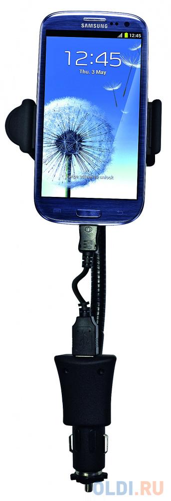 Держатель автомобильный в гнездо прикуривателя Partner на гибкой штанге 58-85мм 15А кабель micro.