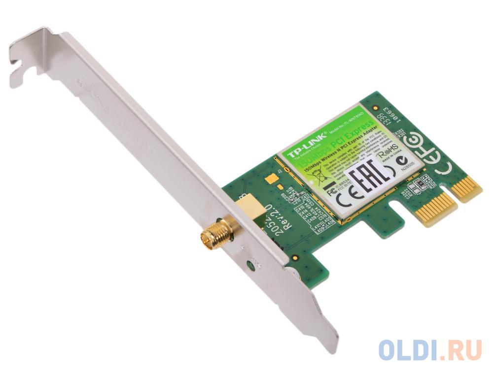 Беспроводной PCI-E адаптер TP-LINK TL-WN781ND 802.11n 150Mbps 2.4ГГц 18dBm tp link tl wr845n беспроводной белый