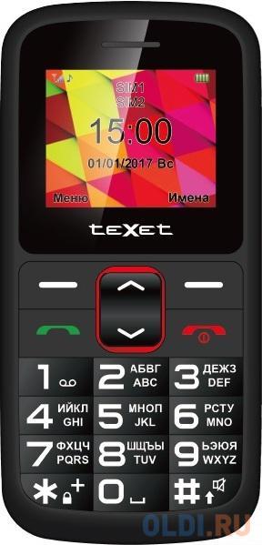 Мобильный телефон Texet TM-B217 черный красный 1.77 32 Мб мобильный телефон texet tm d430 черный