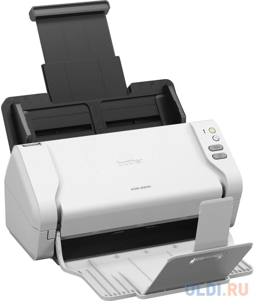 Сканер Brother ADS-2200 протяжный CIS A4 600x600dpi USB белый сканер brother pds 5000