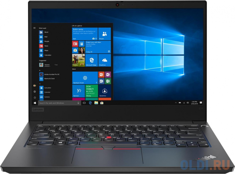 "Ноутбук Lenovo ThinkPad E14 14"" 1920x1080 Intel Core i7-10510U 512 Gb 16Gb WiFi (802.11 b/g/n/ac/ax) Bluetooth 5.0 AMD Radeon RX 640 2048 Мб черный Windows 10 Professional 20RA001LRT"