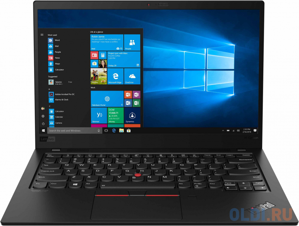 "Ноутбук Lenovo ThinkPad X1 Carbon 7 14"" 3840x2160 Intel Core i7-8565U 1024 Gb 16Gb Bluetooth 5.0 Intel UHD Graphics 620 черный Windows 10 Professional 20QD003MRT"