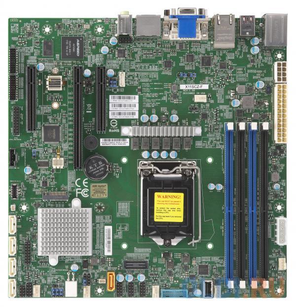 Материнская плата Supermicro MBD-X11SCZ-F-O Socket 1151 v2 Intel C246 4xDDR4 1xPCI-E 16x 2xPCI-E 4x 5 uATX Retail