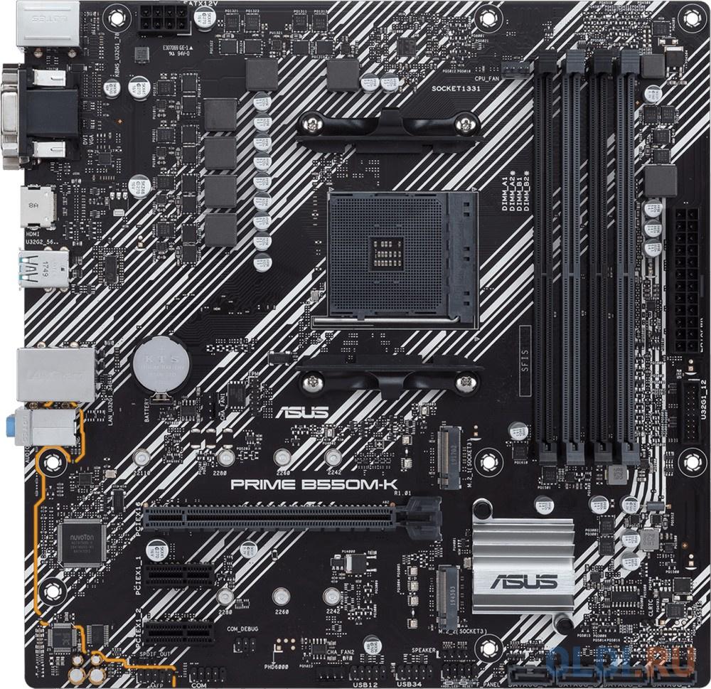 Фото - Материнская плата ASUS PRIME B550M-K Socket AM4 AMD B550 4xDDR4 1xPCI-E 16x 2xPCI-E 1x 4 mATX Retail материнская плата asus h110m a m 2 csm socket 1151 h110 2xddr4 1xpci e 16x 2xpci e 1x 4 matx retail
