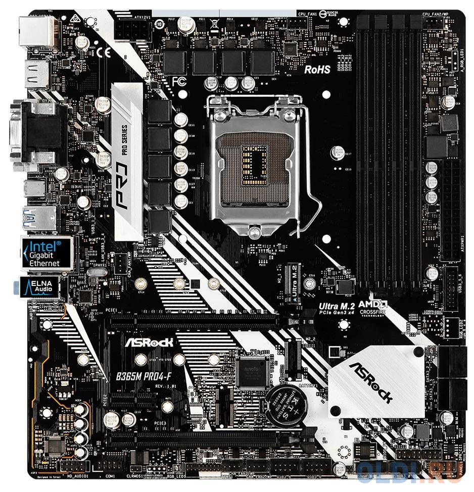 Материнская плата ASRock B365M PRO4-F Socket 1151 v2 B365 4xDDR4 2xPCI-E 16x 1xPCI-E 1x 6 mATX Retail