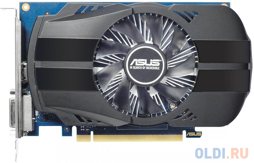 Видеокарта 2Gb  PCI-E ASUS PH-GT1030-O2G  GT1030, GDDR5, 64 bit, DVI-D, HDMI, Retail (PH-GT1030-O2G)