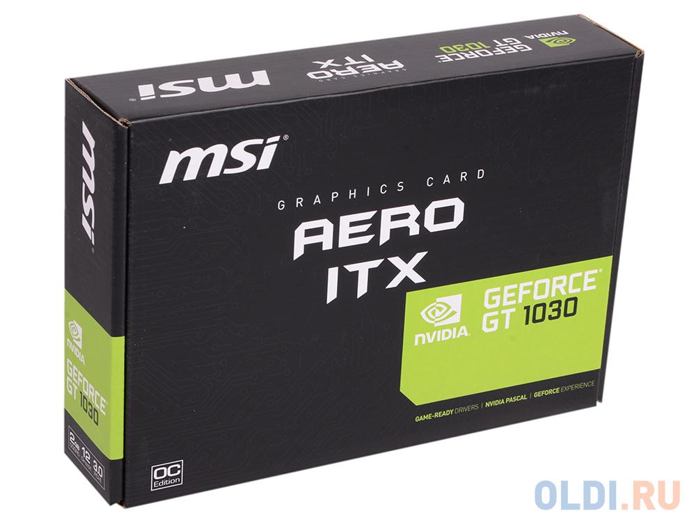 Видеокарта 2Gb PCI-E MSI GT 1030 AERO ITX 2G OC