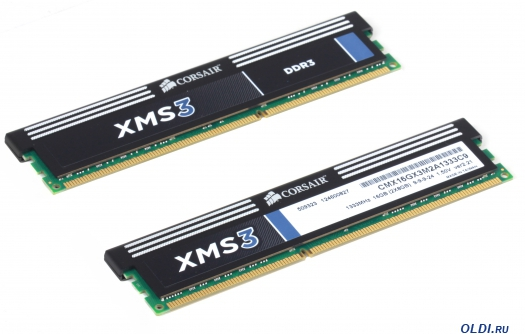 Фото «Память DDR3 16Gb (pc-10600) 1333MHz Corsair XMS (CMX16GX3M2A1333C9)» в Москве