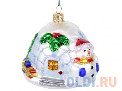 Фото «Елочные украшения Winter Wings Ледяной Дом со снеговиком 10 см 1 шт стекло N07205» в Москве