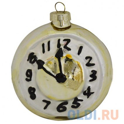 Фото «Украшение елочное ЧАСЫ, 8,8*7,8 см, стекло» в Москве