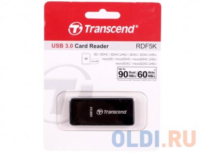 Фото «Картридер внешний Transcend TS-RDF5K USB3.0 SDXC/SDHC/SD/microSDXC/microSDHC/microSD черный» в Санкт-Петербурге