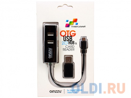 Фото «Картридер Ginzzu EXT GR-564UB OTG/PC + HUB 3 port USB 2.0» в Екатеринбурге