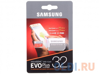 Фото «Карта памяти MicroSDHC 32GB Samsung EVO Plus v2 UHS-I U1 + SD Adapter» в Новосибирске