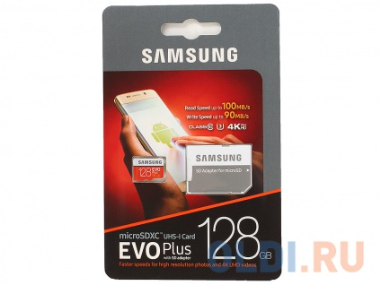 Фото «Карта памяти MicroSDXC 128GB Samsung EVO Plus v2 UHS-I U3 + SD Adapter» в Ростове-на-Дону