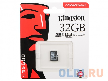 Фото «Карта памяти MicroSDHC 32GB Kingston Canvas Select 80R CL10 UHS-ISP без адаптера (SDCS/32GBSP)» в Нижнем Новгороде